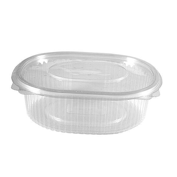 "Salatschale ""oval"" 100 ml mit anhängendem Deckel – PET"