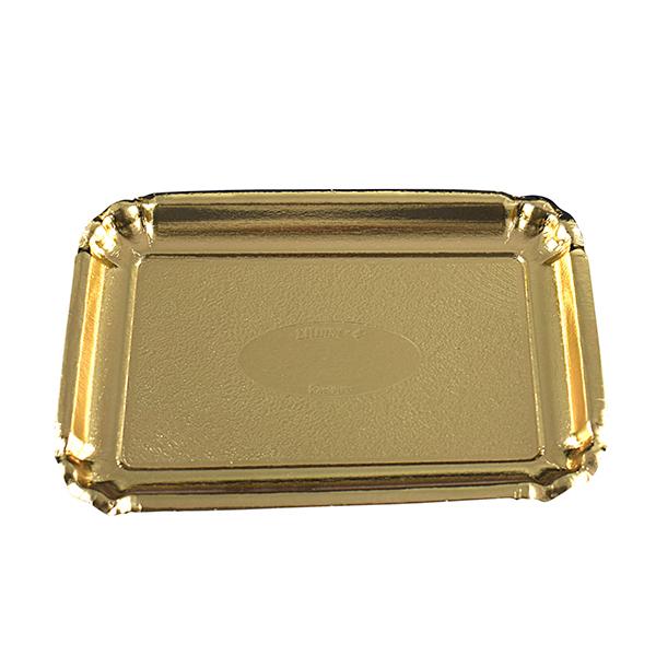 Pappteller tief, gold eckig 38,2 x 51 cm