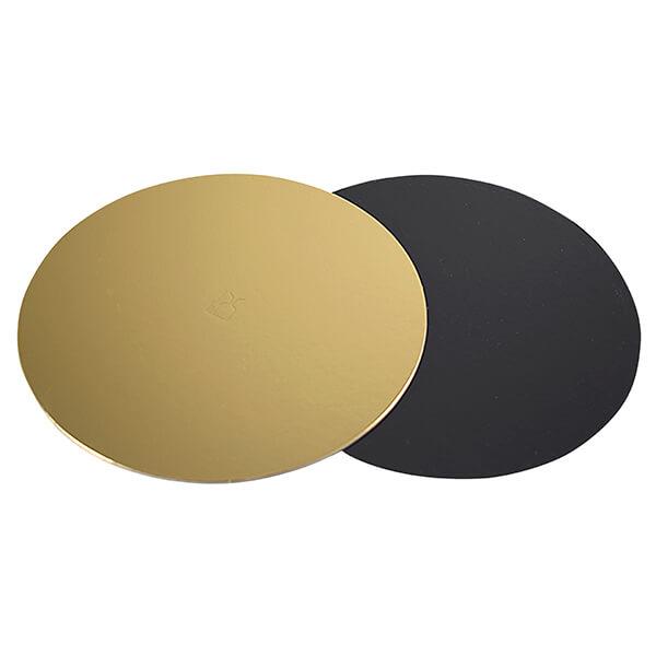 Tortenunterlagen Ø 23 cm gold/schwarz beschichtet – Tortenunterlage für runde Torten